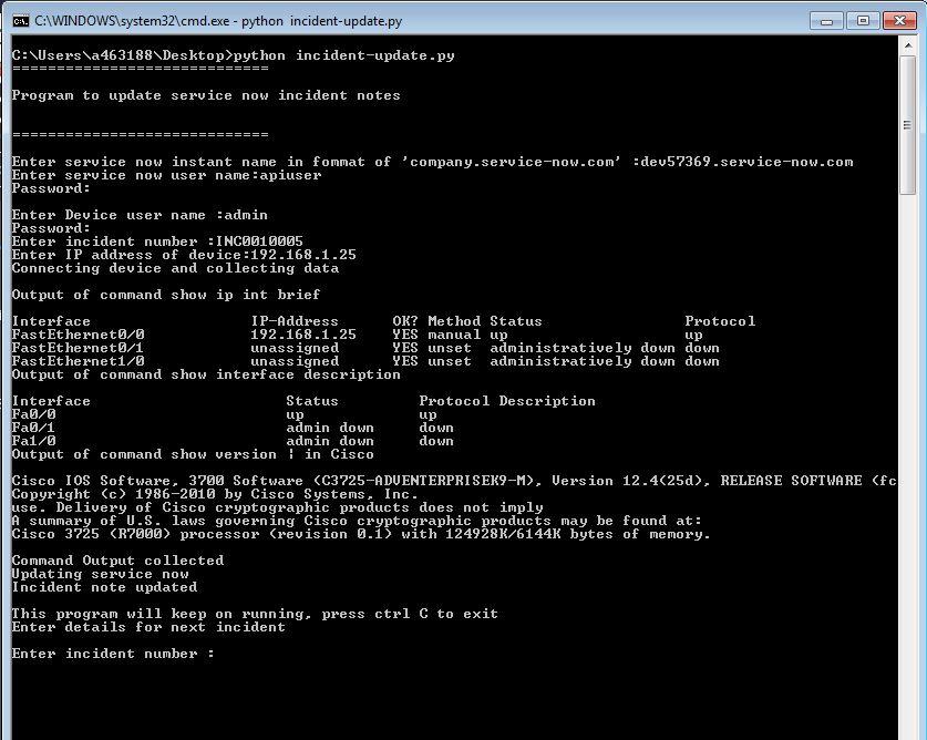Update service-now ticket using a Python script -